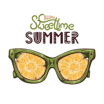 Illustrazione vettoriale di occhiali con ananas invece di lenti.