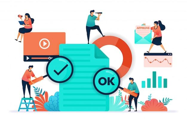 Illustrazione vettoriale di ok o yes sul contenuto video o sul documento inviato.