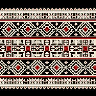 Illustrazione vettoriale di ornamento popolare ucraino narrativa senza saldatura. ornamento etnico. elemento di bordo. tradizionale ucraino, arte popolare bielorussa lavorato a maglia modello di ricamo - vyshyvanka