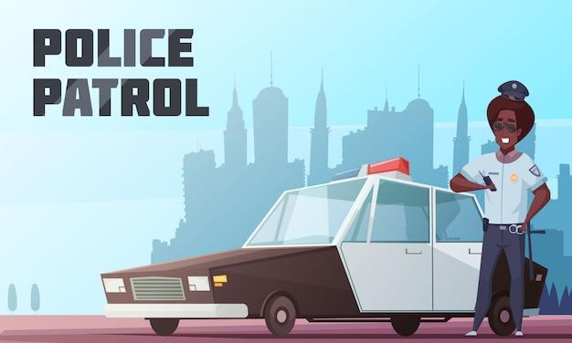 Illustrazione vettoriale di pattuglia della polizia