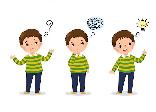 Illustrazione vettoriale di pensiero del bambino del fumetto. ragazzo premuroso, ragazzo confuso e ragazzo con la lampadina illustrata sopra la sua testa