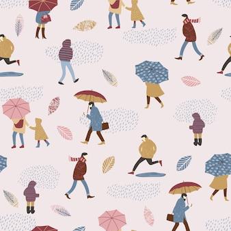 Illustrazione vettoriale di persone sotto la pioggia