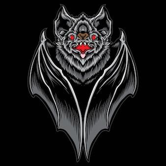 Illustrazione vettoriale di pipistrello spaventoso