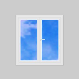 Illustrazione vettoriale di plastica finestra vettoriale realistico chiuso