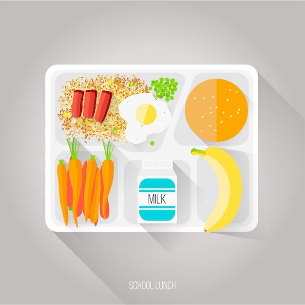Illustrazione vettoriale di pranzo a scuola. stile piatto