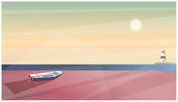Illustrazione vettoriale di primavera o estate spiaggia sullo sfondo
