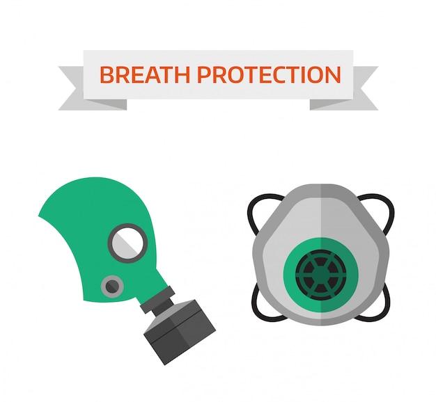 Illustrazione vettoriale di protezione delle vie respiratorie
