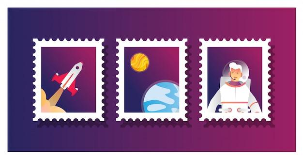 Illustrazione vettoriale di raccolta insieme di francobollo per l'astronauta