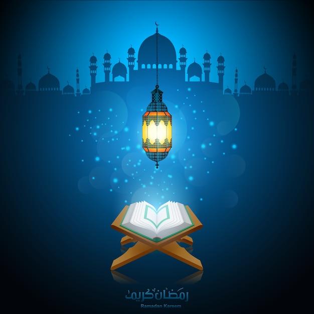 Illustrazione vettoriale di ramadan kareem con al corano.