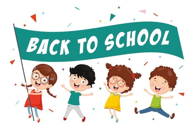 Illustrazione vettoriale di ritorno a scuola bambini