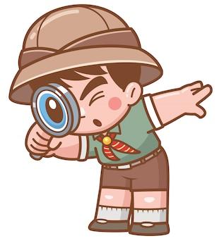 Illustrazione vettoriale di safari boy con lente d'ingrandimento