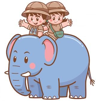 Illustrazione vettoriale di safari boy e ragazza cavalcare elefante