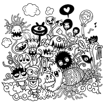 Illustrazione vettoriale di scarabocchi disegnati a mano carina di halloween