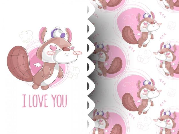 Illustrazione vettoriale di scoiattolo con motivo