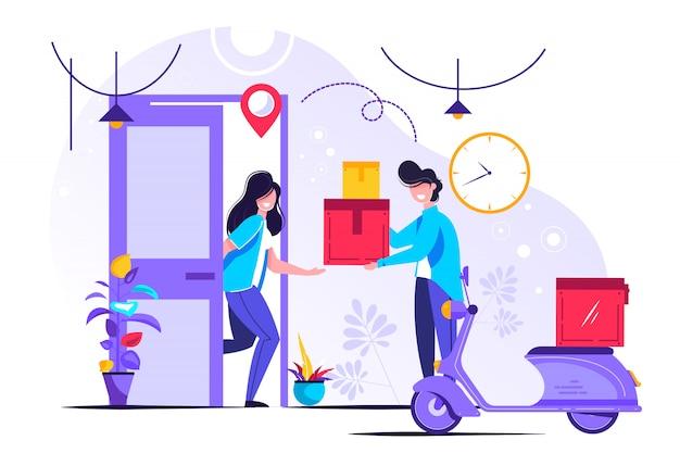 Illustrazione vettoriale di servizio di consegna