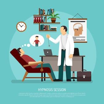 Illustrazione vettoriale di sessione di ipnosi