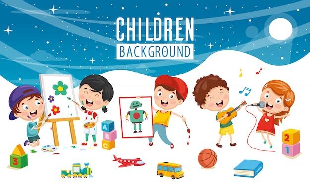 Illustrazione vettoriale di sfondo bambini