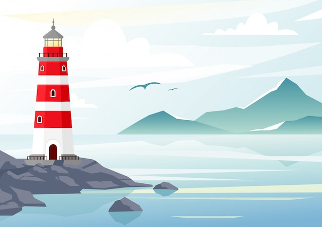 Illustrazione vettoriale di sfondo blu del mare con onde e montagne. faro sulle rocce, paesaggio marino con cielo blu, nebbia.
