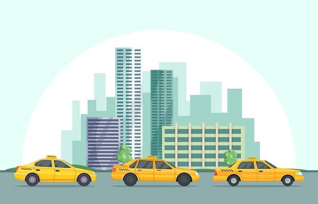Illustrazione vettoriale di sfondo del paesaggio urbano moderno con diversi edifici e taxi auto