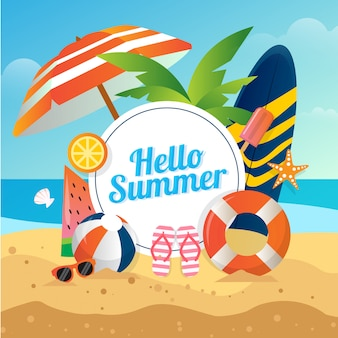 Illustrazione vettoriale di sfondo spiaggia estiva con la tavola da surf occhiali da pallavolo per social media
