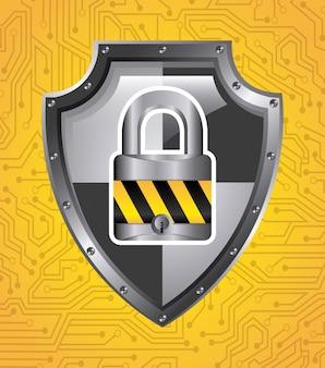 Illustrazione vettoriale di sicurezza grafica design