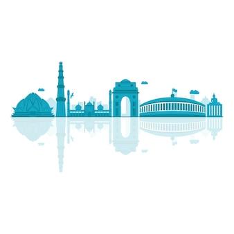 Illustrazione vettoriale di skyline di delhi.