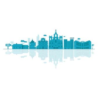 Illustrazione vettoriale di skyline di goa.