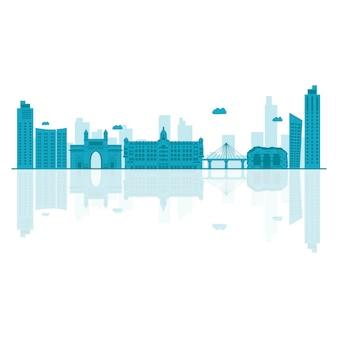 Illustrazione vettoriale di skyline di mumbai.