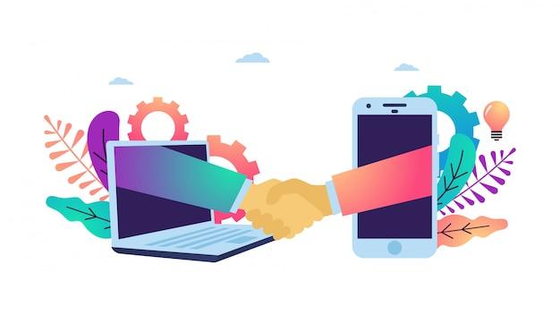 Illustrazione vettoriale di stringere la mano facendo accordo online.