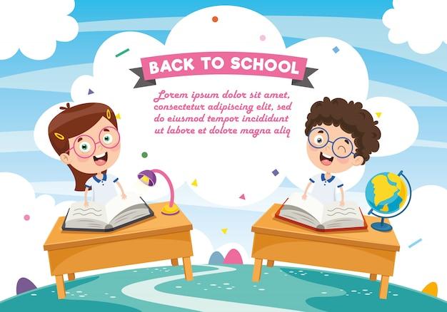 Illustrazione vettoriale di studenti dei cartoni animati