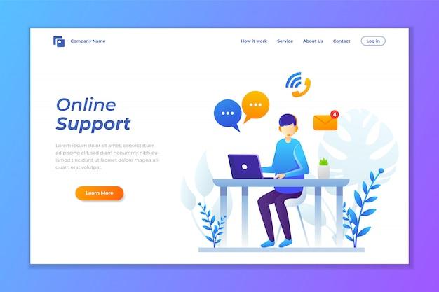 Illustrazione vettoriale di supporto online o contattare l'assistenza