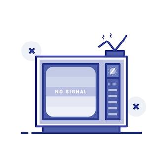 Illustrazione vettoriale di televisione rotta