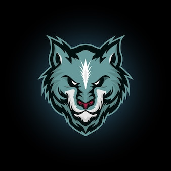 Illustrazione vettoriale di testa di lupo, lupo blu mascotte logo design