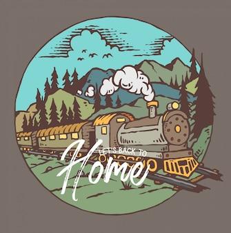 Illustrazione vettoriale di treno con sfondo di montagna