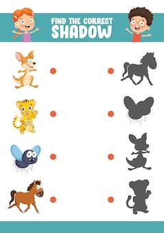 Illustrazione vettoriale di trovare l'esercizio di ombra corretta