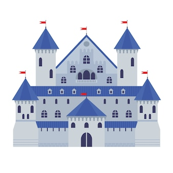 Illustrazione vettoriale di un castello in stile piano. fortezza di pietra medievale. castello di fantasia astratta