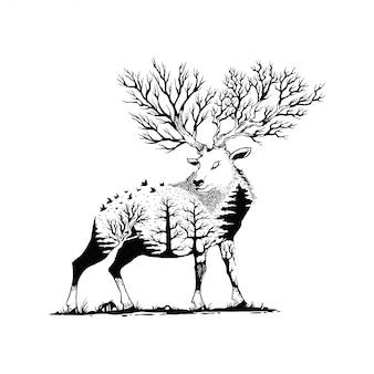 Illustrazione vettoriale di un cervo con sfondo foresta
