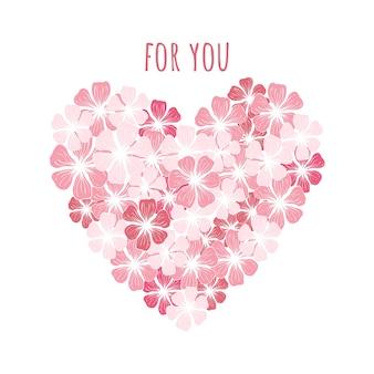 Illustrazione vettoriale di un cuore di fiori. motivi scandinavi.