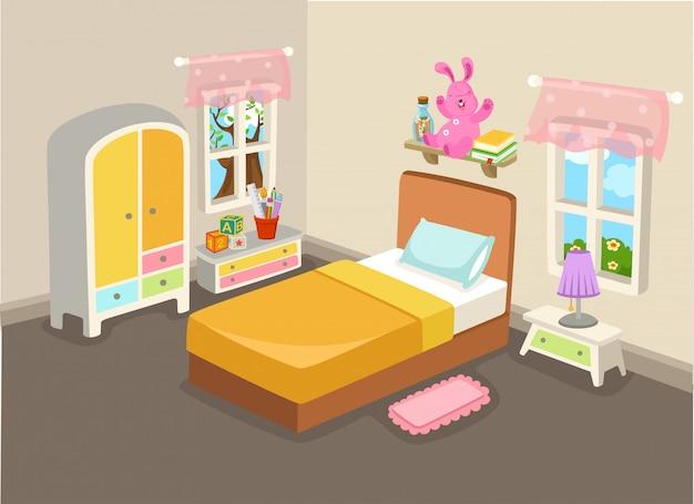 Illustrazione vettoriale di un interno camera da letto con un vettore letto