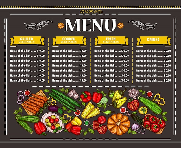 Illustrazione vettoriale di un menu vegetariano menu design