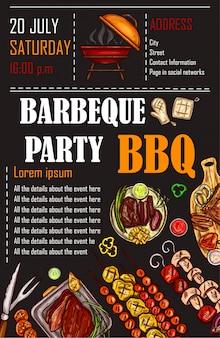 Illustrazione vettoriale di un modello di menu bbq, invito su un barbecue, certificato regalo