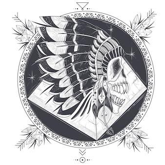 Illustrazione vettoriale di un modello per un tatuaggio con un cranio umano in un cappello di piume indiano.