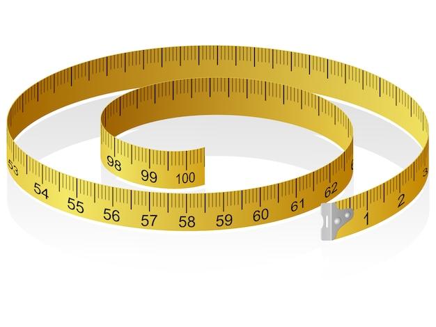 Illustrazione vettoriale di un nastro di misurazione con la riflessione