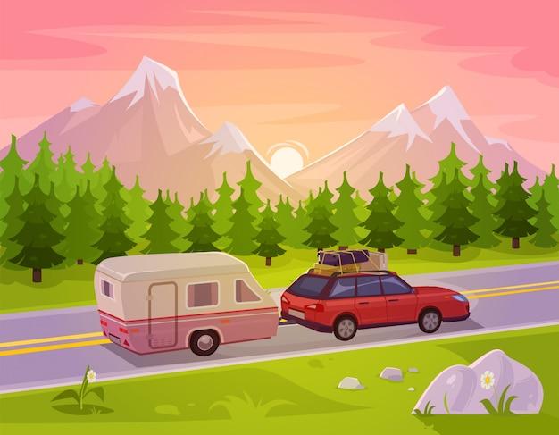 Illustrazione vettoriale di un paesaggio di montagna