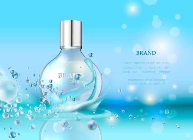 Illustrazione vettoriale di un profumo di stile realistico in una bottiglia di vetro