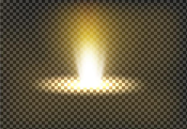 Illustrazione vettoriale di un raggio di luce dorata, un fascio di luce