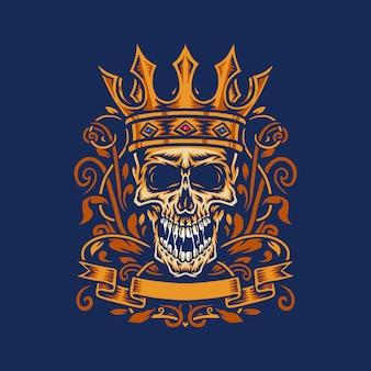 Illustrazione vettoriale di un teschio urlato che indossa la corona di un re