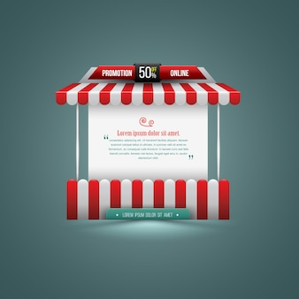 Illustrazione vettoriale di una bancarella. può essere utilizzato per la promozione