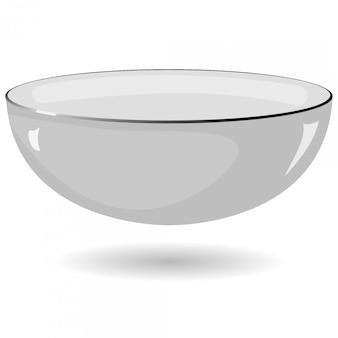 Illustrazione vettoriale di una ciotola di metallo su uno sfondo bianco