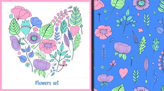 Illustrazione vettoriale di una cornice floreale a forma di un cuore e pattern